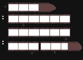 contact sheet with film stripes,  photo frames, free copy space,vector
