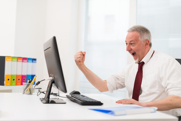 Very happy businessman in front of his computer