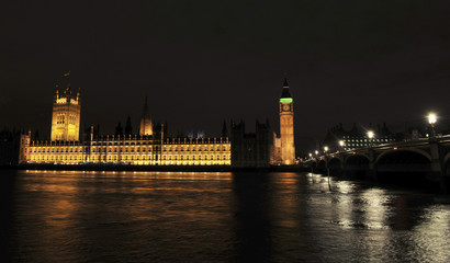 The Houses of Parliament are pictured before their lights extinguished during Earth hour in London