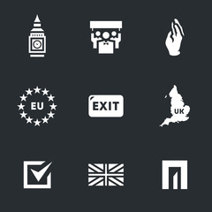 Vector Set of British Brexit Icons.