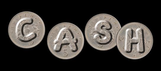 CASH – Coins on black background