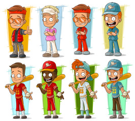Cartoon sportsmen and baseball players characters vector set