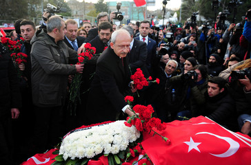 Main opposition CHP leader Kilicdaroglu places carnations at the site of Saturday's blasts in Istanbul