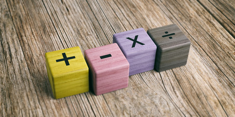 Math symbols on wooden blocks. 3d illustration