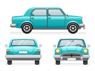 Front Back Side Point View Retro Car Icons Set Isolated Design Transport Clipart Symbols Vector Illustration