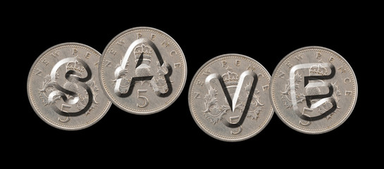 SAVE – Coins on black background
