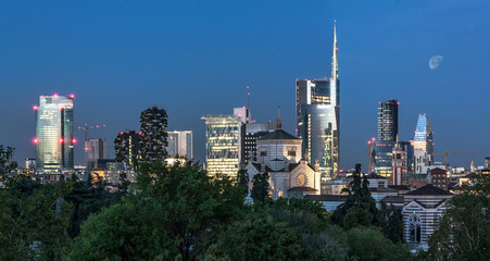 In de dag Milan Milan skyline by night, Italy