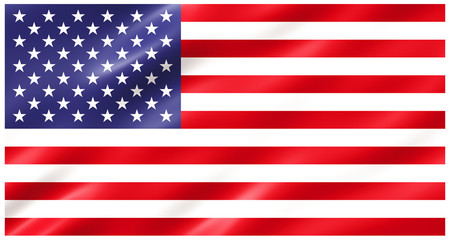 Slightly waving flag of the United States of America isolated on white, 3D rendering