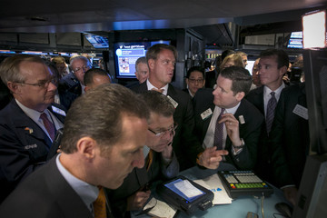 Barclay's Capital Market makers work with bankers and NYSE staff during the Alibaba IPO at the NYSE in New York