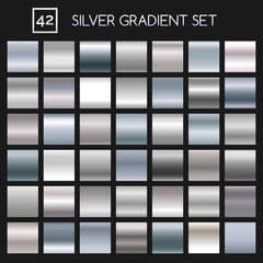 Silver metallic gradient vector set. Argent or chrome metal vector gradients for fashion and design