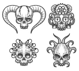 Hand drawn monsters skull set vector illustration. Evil Skulls with horns, dynamite and brain of gears for tattoos isolated on white background