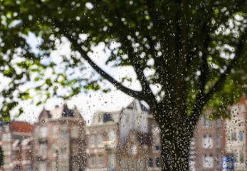 Rain on window in Amsterdam, Netherlands