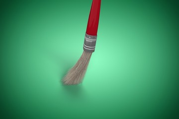 Composite image of computer generated image of red paintbrush