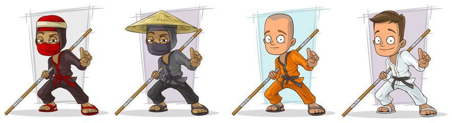 Cartoon karate boys and ninjas character vector set