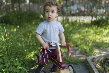 Toddler on a trike outside in a garden.