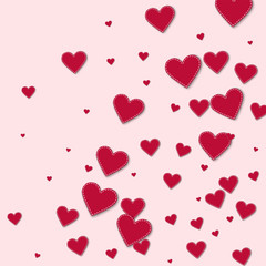 Red stitched paper hearts. Abstract random scatter on light pink background. Vector illustration.