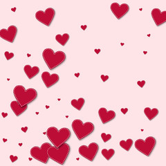 Red stitched paper hearts. Abstract pattern on light pink background. Vector illustration.