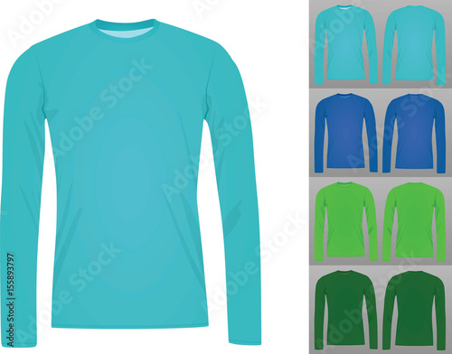 Set of colorful long sleeve t shirt template vector\
