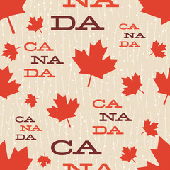 Mid Century Canada Pattern. Retro vintage fifties styled vector pattern. Fifties styled seamless pattern that has maple leaves on it and reads Canada.