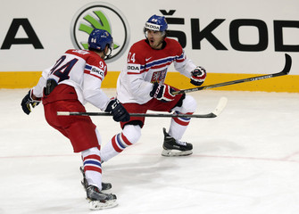 Zatovic of the Czech Republic celebrates his goal against Sweden with team mate Simon during their Ice Hockey World Championship game at O2 arena in Prague