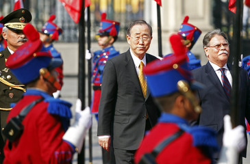 United Nations Secretary-General Ban Ki-moon arrives at the government palace in Lima
