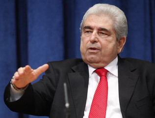 Cyprus' President Christofias gestures as he speaks during a news conference at the U.N. headquarters in New York