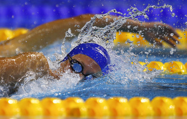 Carlin of Britain swims in the women's 800m freestyle final at the European Swimming Championships in Berlin