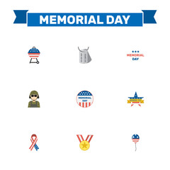 Flat Military Man, Identity, Holiday And Other Vector Elements. Set Of Day Flat Symbols Also Includes Balloon, Medallion, Memorial Objects.