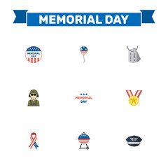 Flat Identity, Barbecue, Awareness And Other Vector Elements. Set Of Day Flat Symbols Also Includes Brazier, Military, Day Objects.