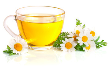 Printed roller blinds Tea Herbal tea with fresh chamomile flowers isolated on white background