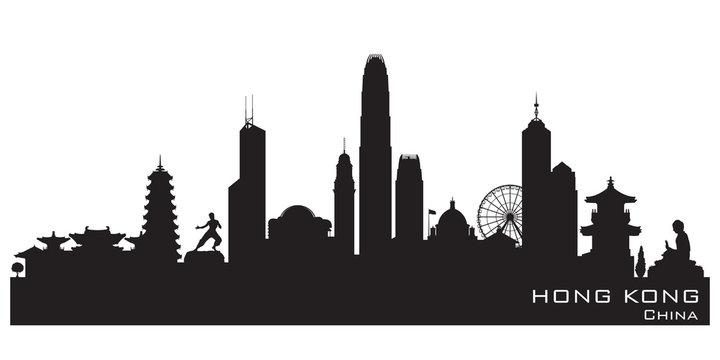 Hong Kong China city skyline vector silhouette