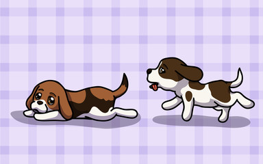 Vector illustration two Beagle have fun time in cartoon style