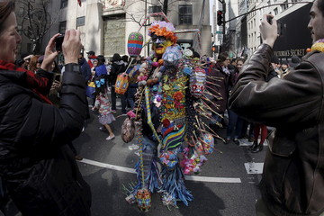 People take part in the annual Easter Parade and Bonnet Festival along 5th Avenue in New York