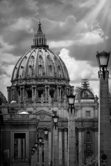Dome of St. Peter in Rome, black and white
