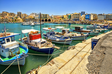 Boats in the old port of Heraklion. Crete, Greece. Fishing schooners.