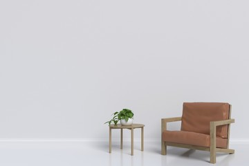 Interior with Armchair on empty white wall background,3D rendering