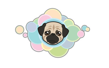 Vector illustration Dog 's head, Pug in cartoon style