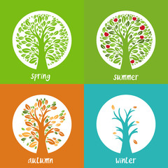 Set of illustration of apple trees in the circle in different season time. Vector