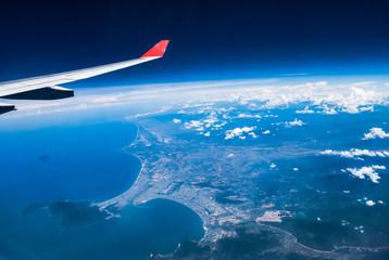 Danag, Vietnam : High view from airplane. Showing port of Danang, Danag International Airport