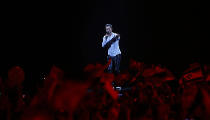 "Singer Zelmerloew representing Sweden performs the song ""Heroes"" during the final of the 60th annual Eurovision Song Contest in Vienna"