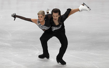 Elsener and Roost of Switzerland perform their preliminary round ice dance routine at the European Figure Skating Championships in Sheffield