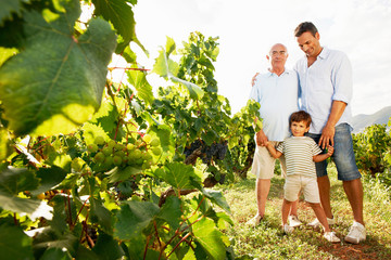 Generational family in vineyard