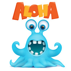 Octopus alien monster emoji character with aloha title
