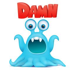 Octopus alien monster emoji character with damn title.