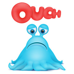 Octopus alien monster emoji character with ouch title.