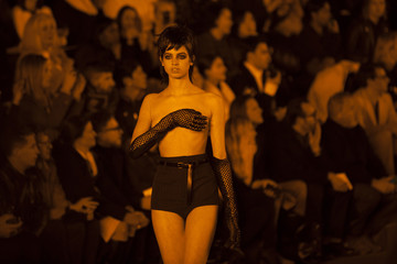 A model presents a creation from the Marc Jacobs Autumn/Winter 2013 collection during New York Fashion Week