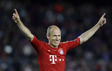 Bayern Munich's Robben celebrates after the Champions League semi-final second leg soccer match against Barcelona at Camp Nou stadium in Barcelona