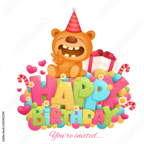 Happy Birthday Invitation Card Template With Toy Teddy Bear Cartoon Character