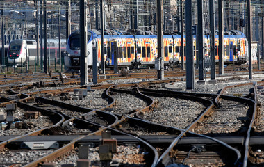 View of rail tracks at Gare Saint-Charles train station in Marseille