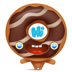 Donut cartoon emoji character saying hi.